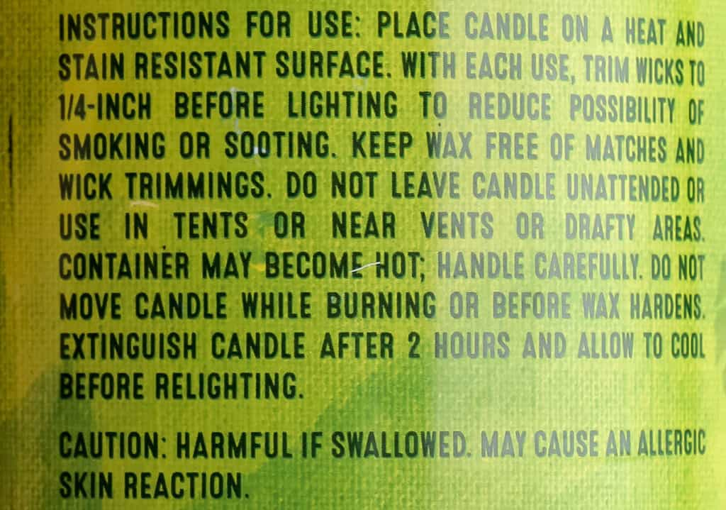Directions for using Trader Joe's Citronella Candle