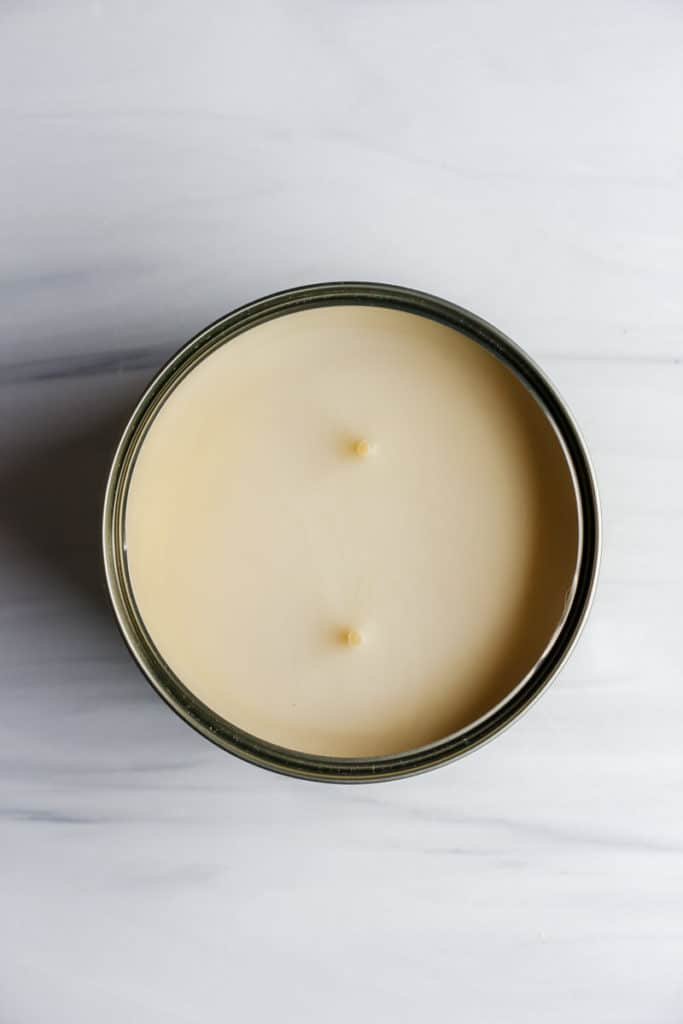 An open Trader Joe's Citronella Candle