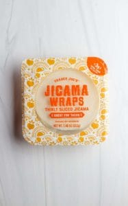An unopened package of Trader Joe's Jicama Wraps