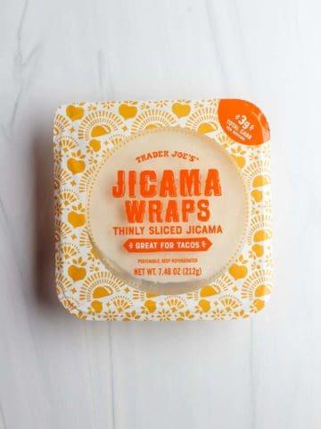 An unopened package of Trader Joe's Jicama Wraps
