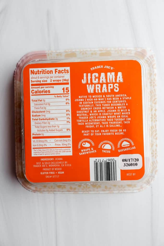 Nutritional facts and ingredients in Trader Joe's Jicama Wraps