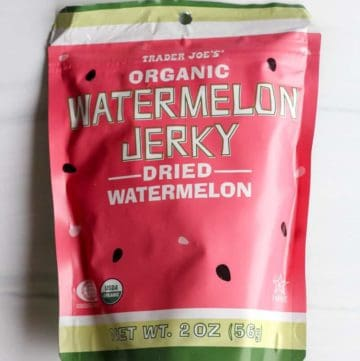 An unopened bag of Trader Joe's Organic Watermelon Jerky