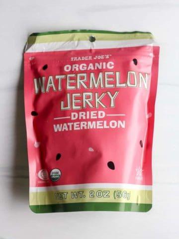 An unopened bag of Trader Joe's Organic Watermelon Jerky
