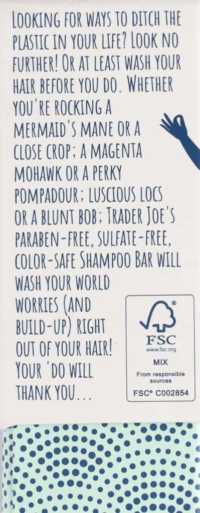 Description on the side of the Trader Joe's Shampoo Bar box