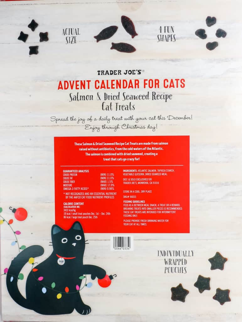 The back of the box of The box of Trader Joe's Advent Calendar for Cats