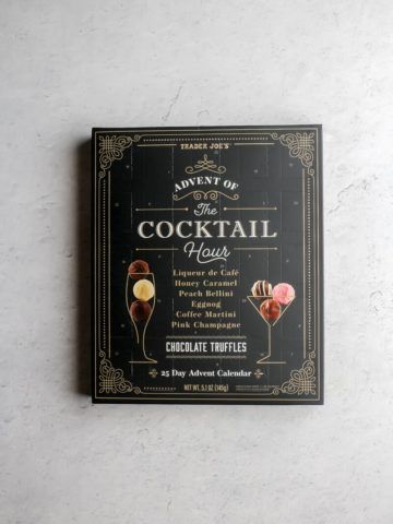 An unopened box of Trader Joe's Advent of the Cocktail Hour