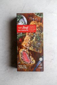 An unopened box of Trader Joe's Beef en Croute