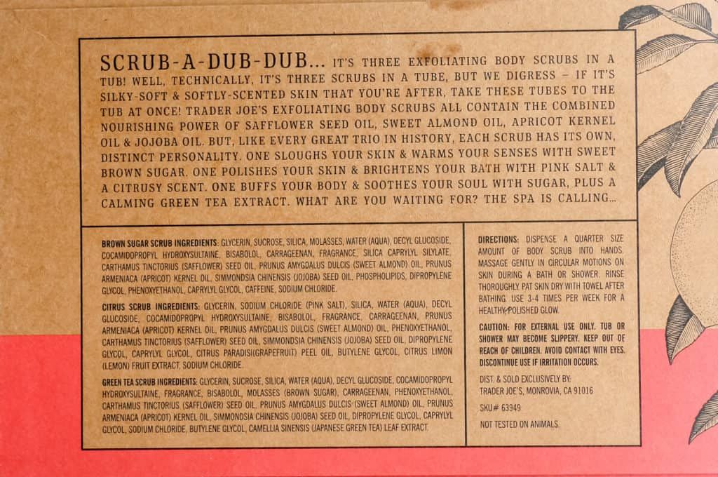 Ingredients and how to use Trader Joe's Exfoliating Body Scrub Trio information from the back of the box