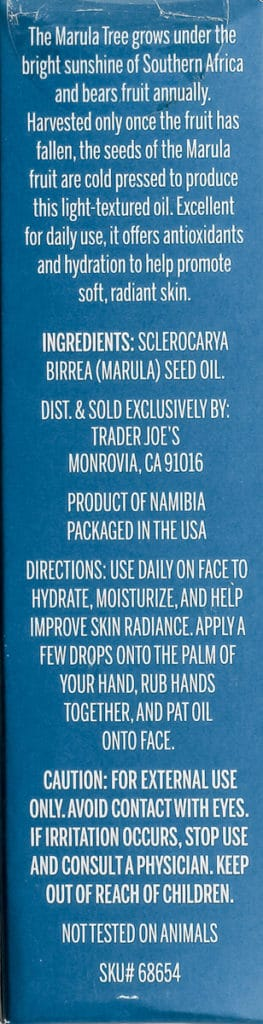 Ingredients and how to use Trader Joe's Marula Facial Oil