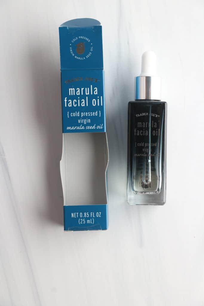 An open package of Trader Joe's Marula Facial Oil