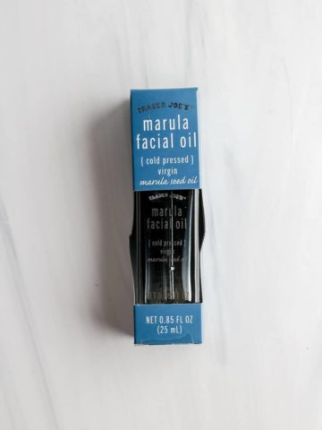 An unopened package of Trader Joe's Marula Facial Oil