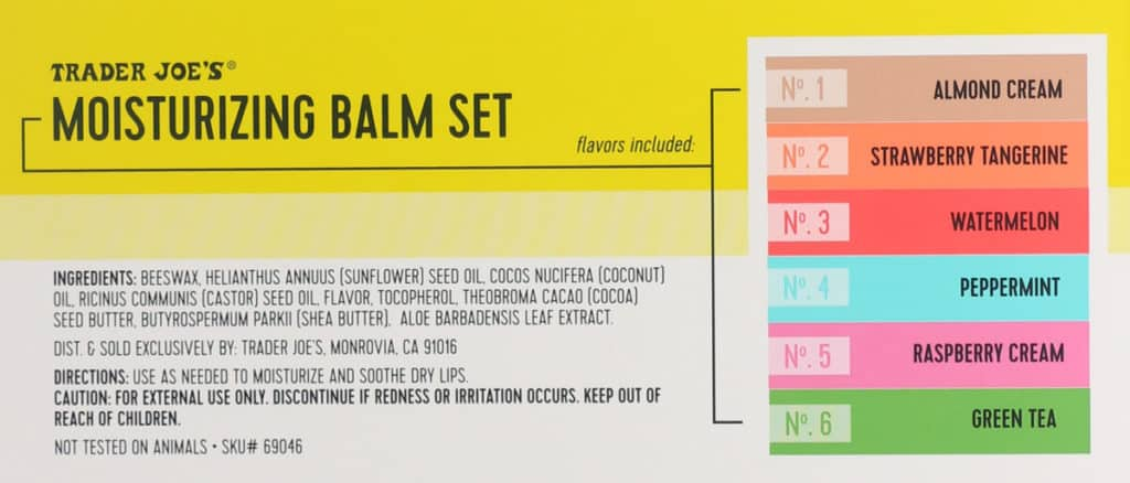 The information from the back of the package of Trader Joe's Moisturizing Lip Balm Set