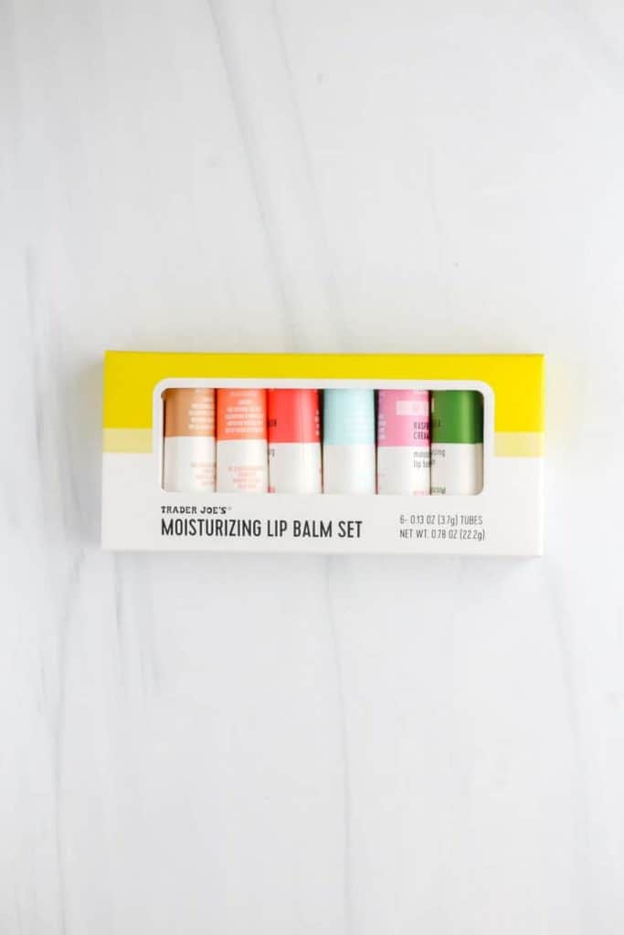 Trader Joe's Moisturizing Lip Balm Set on a white surface in an unopened package