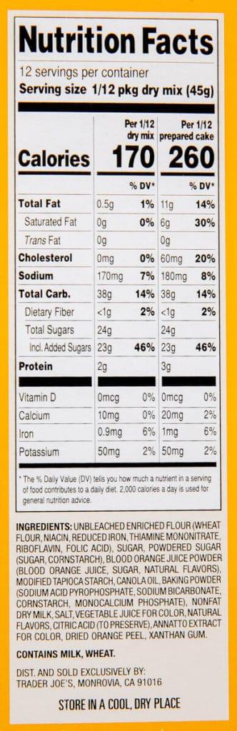 Trader Joe's Blood Orange Cake Mix nutritional information and ingredients