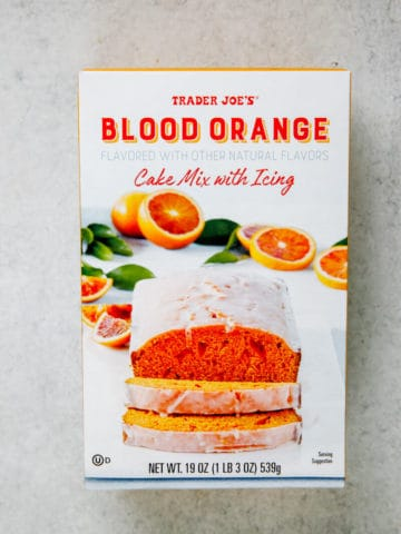 An unopened box of Trader Joe's Blood Orange Cake Mix
