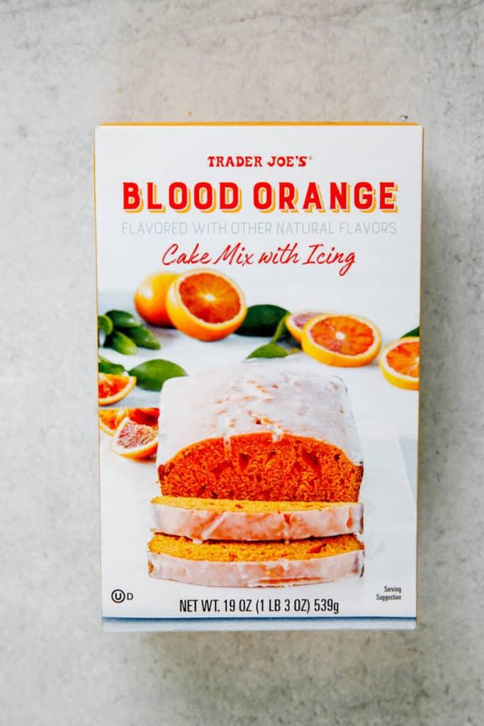 An unopened box of Trader Joe's Blood Orange Cake Mix