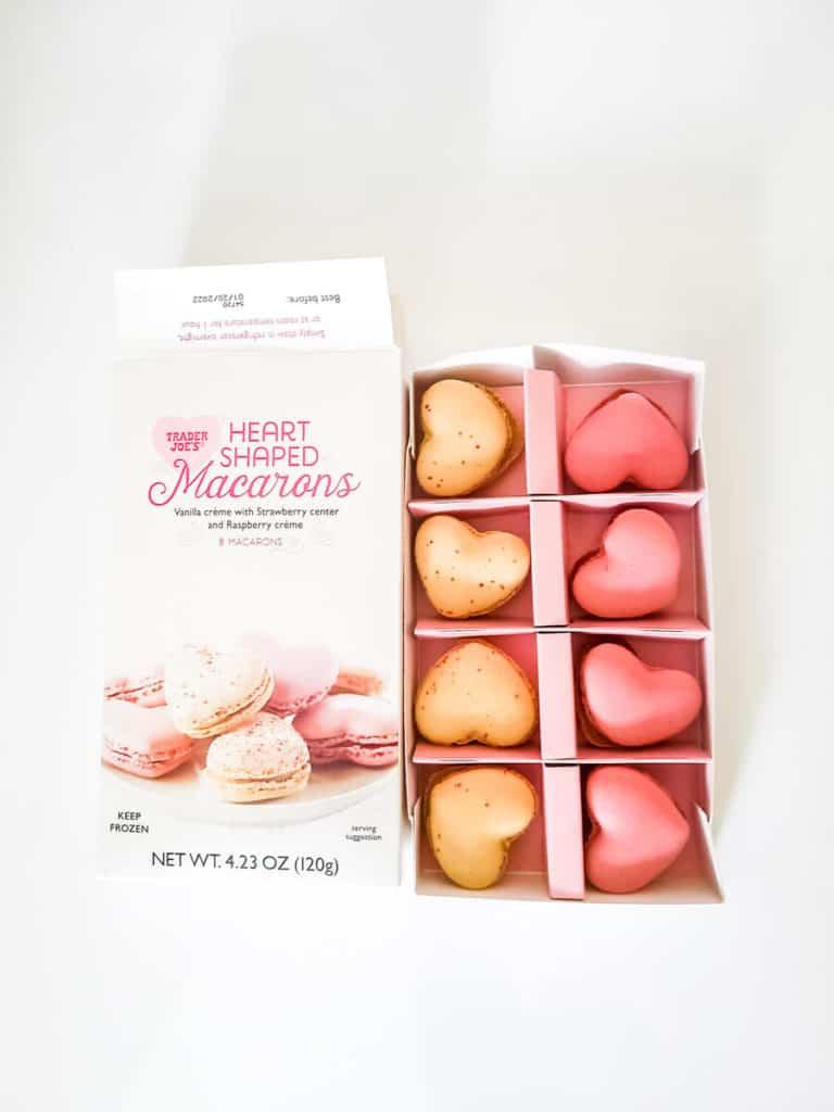 An opened box of Trader Joe's Heart Shaped Macarons