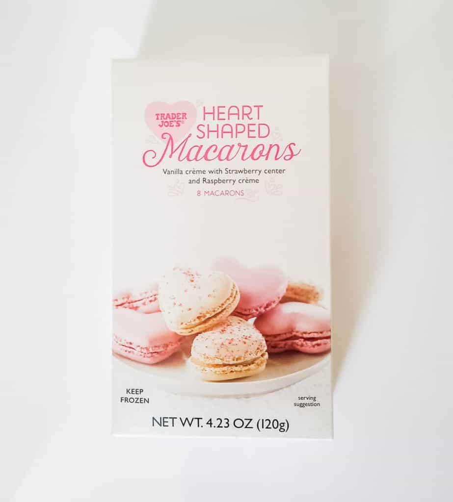 An unopened box of Trader Joe's Heart Shaped Macarons