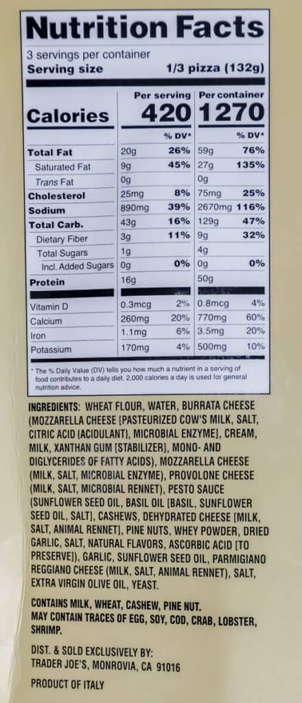 Trader Joe's Roasted Garlic and Pesto Pizza ingredients and nutritional information
