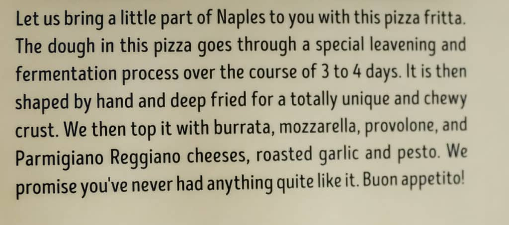 Trader Joe's Roasted Garlic and Pesto Pizza description from the side of the box