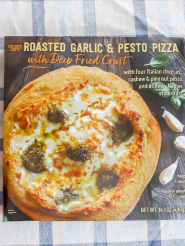 Trader Joe's Roasted Garlic and Pesto Pizza unopened box