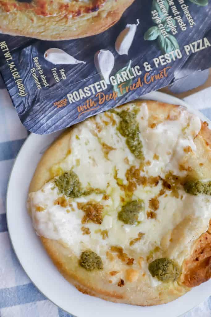 Trader Joe's Roasted Garlic and Pesto Pizza fully baked
