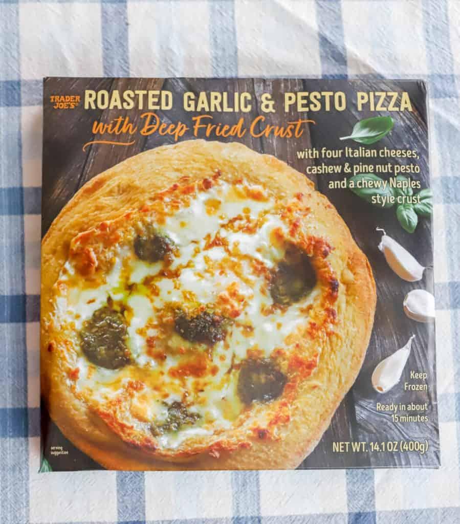 Trader Joe's Roasted Garlic and Pesto Pizza unopened box