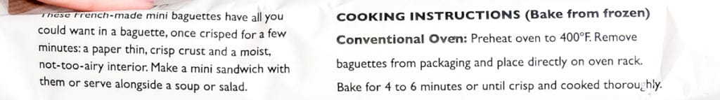 Directions in how to prepare Trader Joe's Mini French Baguettes