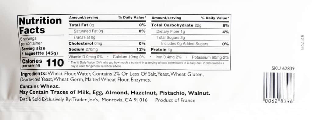 Nutritional information and ingredients in Trader Joe's Mini French Baguettes