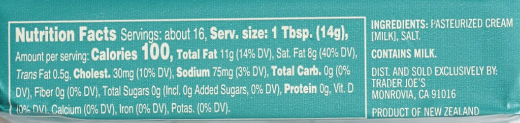 Trader Joe's New Zealand Salted Butter nutritional information and ingredients