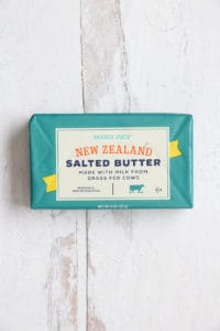 An unopened package of Trader Joe's New Zealand Salted Butter