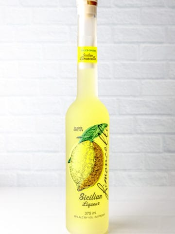 Trader Joe's Limoncello bottle on a white surface