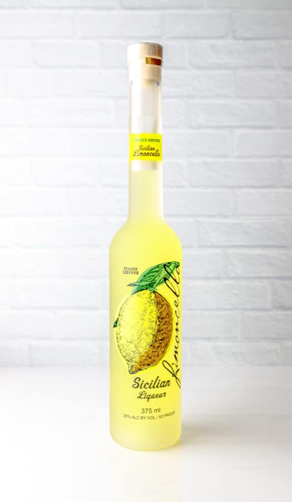 Trader Joe's Limoncello bottle on a white surface