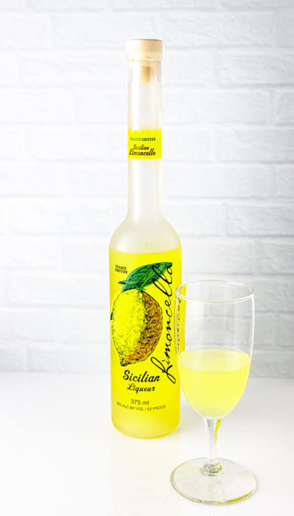 Trader Joe's Limoncello poured into a small glass