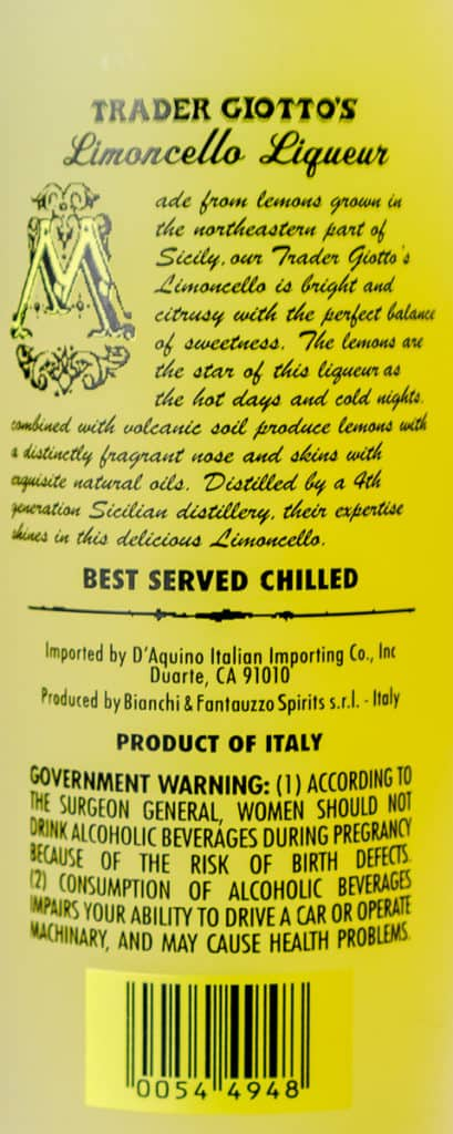 Information from the back of the bottle describing the product and surgeon general's warning.