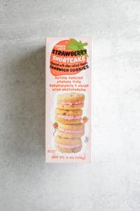 The unopened box of Trader Joe's Strawberry Shortcake Sandwich Cookies