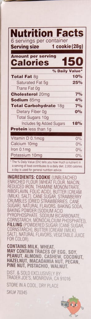 The nutritional information and ingredients.