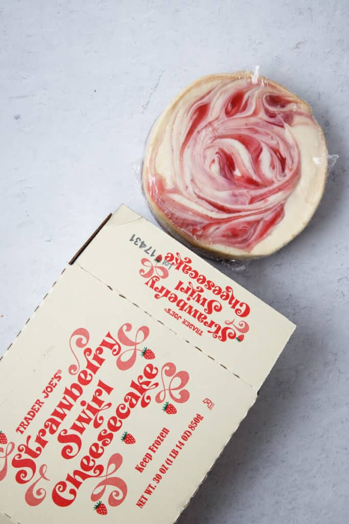 Trader Joe's Strawberry Swirl Cheesecake out of the box