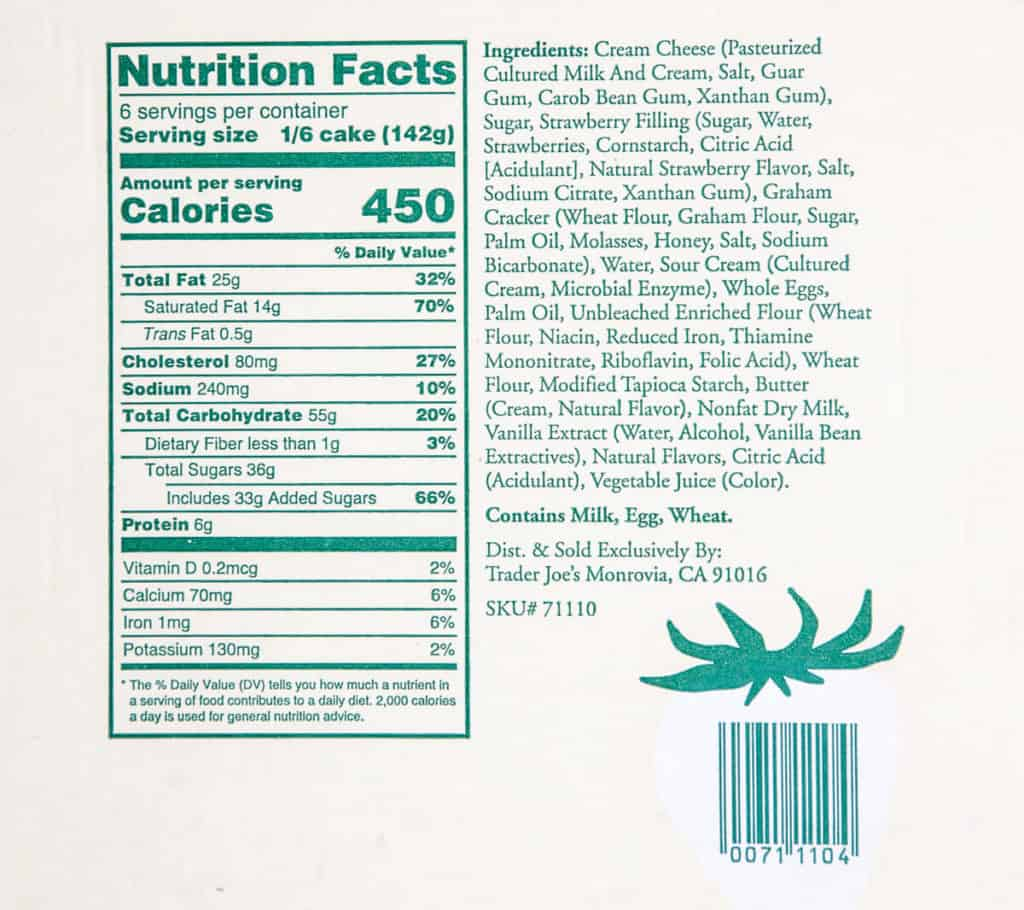 Nutritional facts and ingredients in Trader Joe's Strawberry Swirl Cheesecake