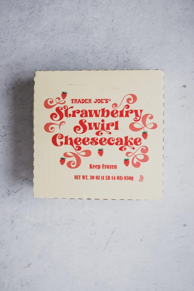 Trader Joe's Strawberry Swirl Cheesecake in an unopened box