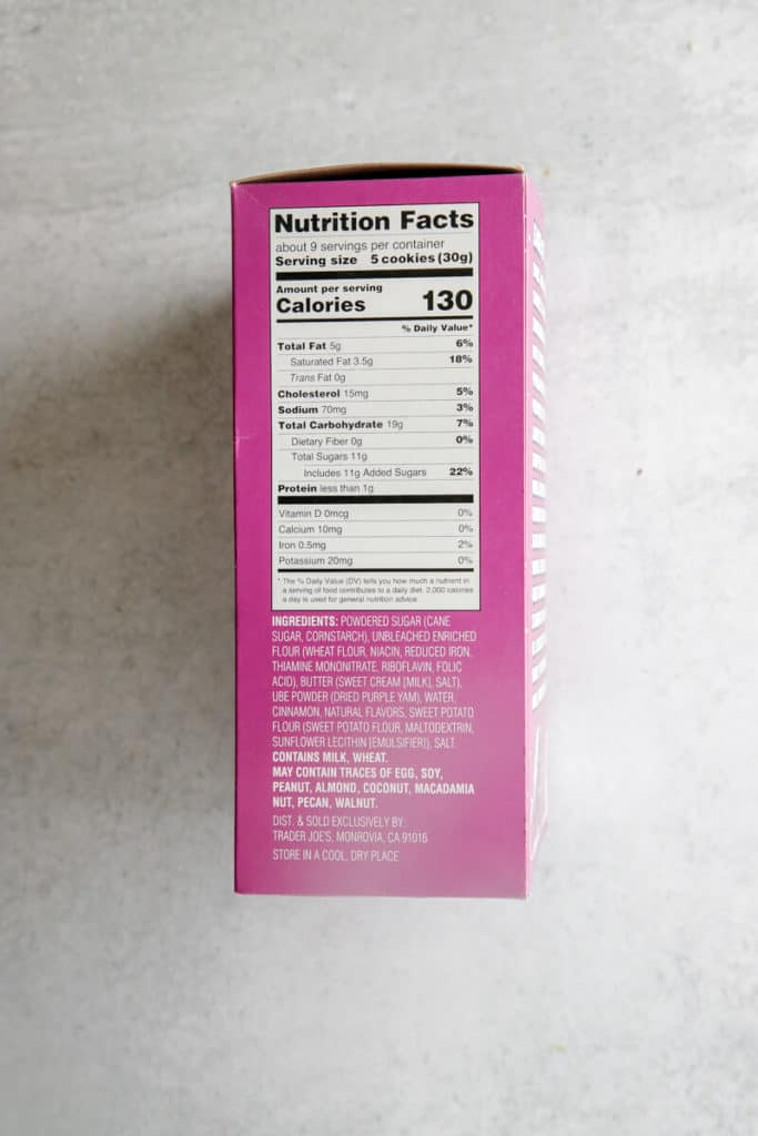 Nutritional facts and ingredients on the side of the Trader Joe's Ube Tea Cookies box