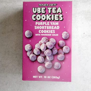 An unopened box of Trader Joe's Ube Tea Cookies