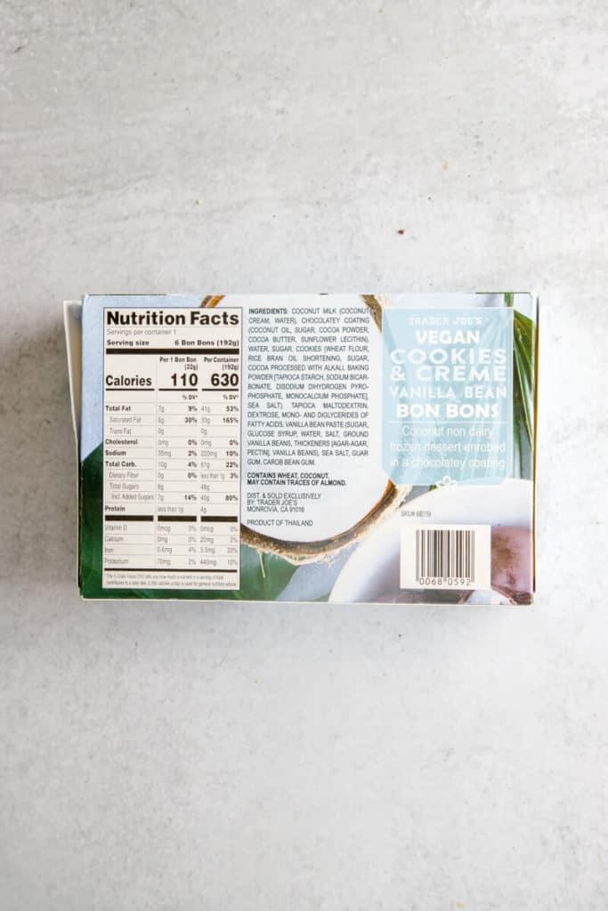 Trader Joe's Vegan Cookies and Cream Bon Bons ingredients and nutritional information