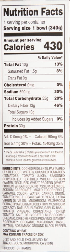 Nutritional facts and ingredients in Trader Joe's Vegan Pasta Bolognese