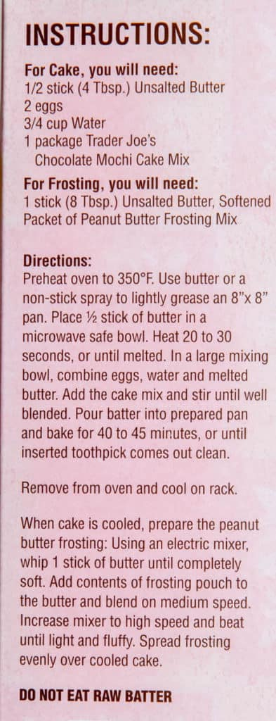 Directions for making Trader Joe's Chocolate Mochi Cake