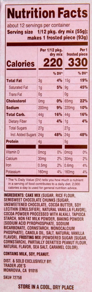 Calories and ingredients in Trader Joe's Chocolate Mochi Cake