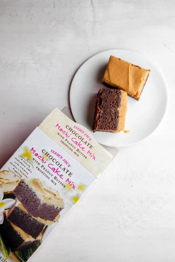 A top and side view of the finished Trader Joe's Chocolate Mochi Cake Mix