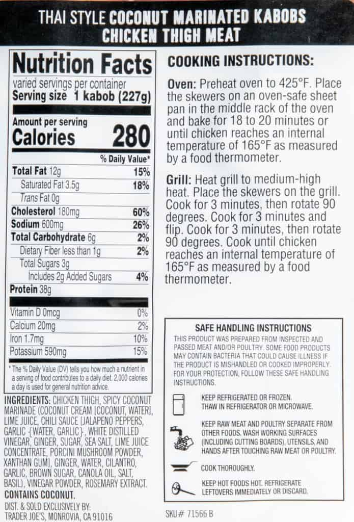 Calories, ingredients, and directions for Trader Joe's Coconut Marinated Kabobs