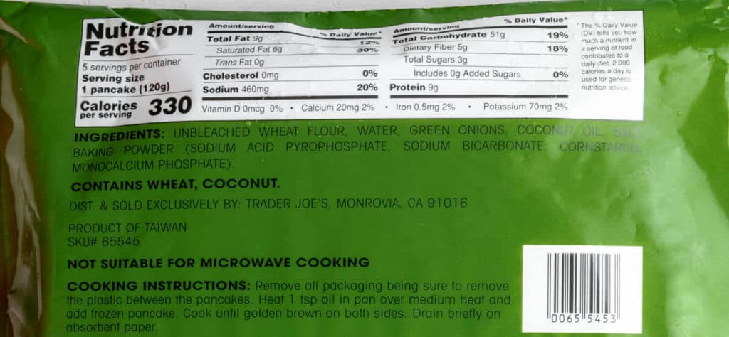 Nutritional facts, ingredients, and directions on how to cook Trader Joe's Taiwanese Green Onion Pancakes