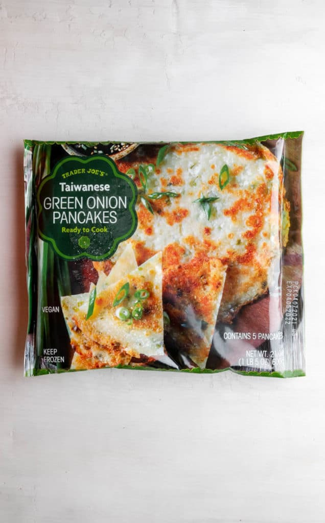 An unopened package of Trader Joe's Taiwanese Green Onion Pancakes
